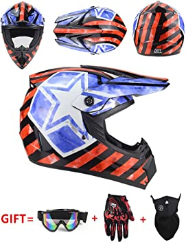 Senhill DOT Motocross Helmet Matte Youth ATV MX Spiderman Helmet Off Road Downhill All Mountain Riding Helmet with Goggles