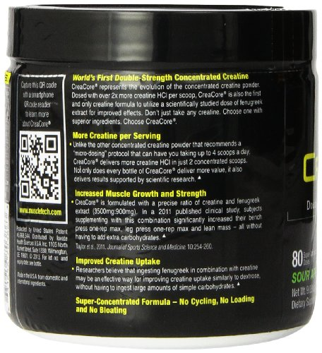MuscleTech Creacore, Concentrated Creatine HCL Powder, Sour Apple, 80 servings, 9.03 oz (256g)
