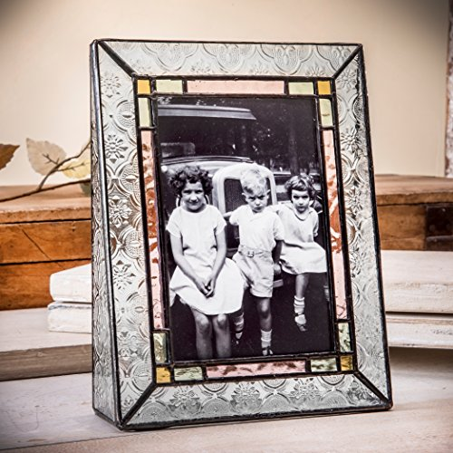 J Devlin Pic 137-46V Stained Glass Picture Frame 4x6 Vertical Photo Frame Green Pale Purple Amber Family Picture Frame (137 Glasses)