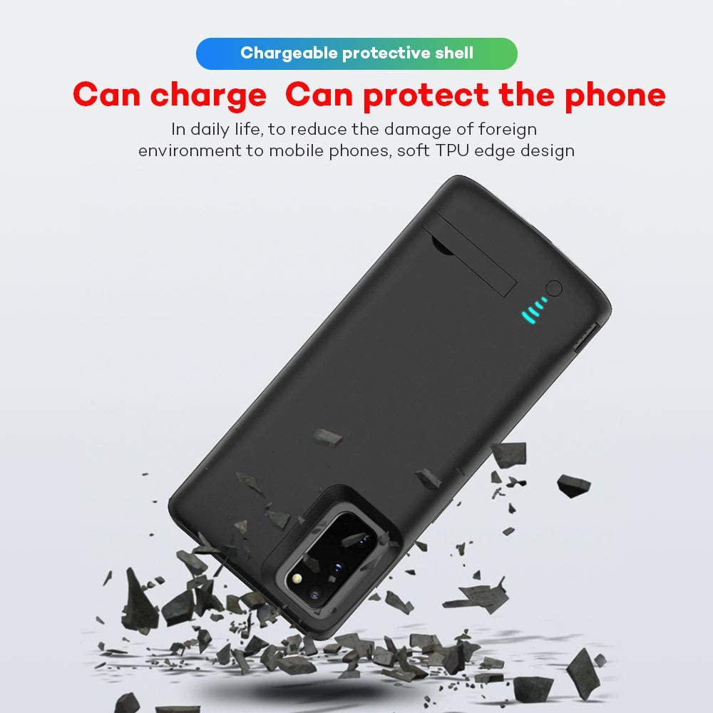 5000mAh Kerter Battery Case for Galaxy S10 Plus - Charging Case Extended Battery for Samsung Galaxy S10+ Rechargeable Battery Backup Power Bank Portable Charger Case Black