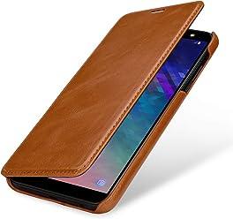StilGut Book Type Case, Custodia per Samsung Galaxy A6 Plus 2018 a Libro Booklet in Vera Pelle, Cognac