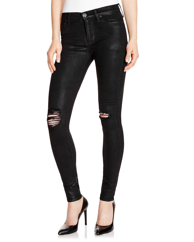 Hudson Women's Nico Super Skinny Jeans in Black Wax Destructed
