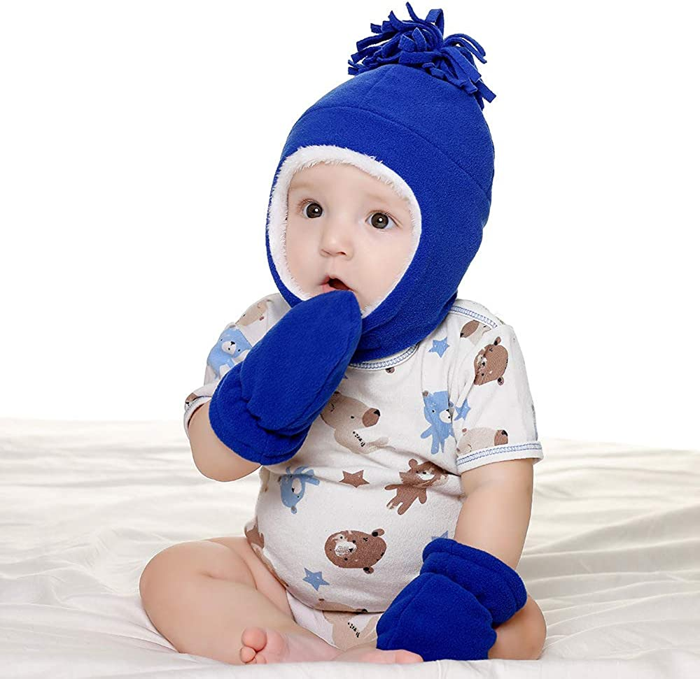 LACOFIA Baby Boys Girls Warm Fleece Hat Sherpa Lined Caps Toddler Winter Earflap Pilot Hat and Mitten Set