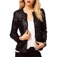 Macondoo Women Sequins Outdoor Round Neck Coat Long-Sleeve Blazer Jackets
