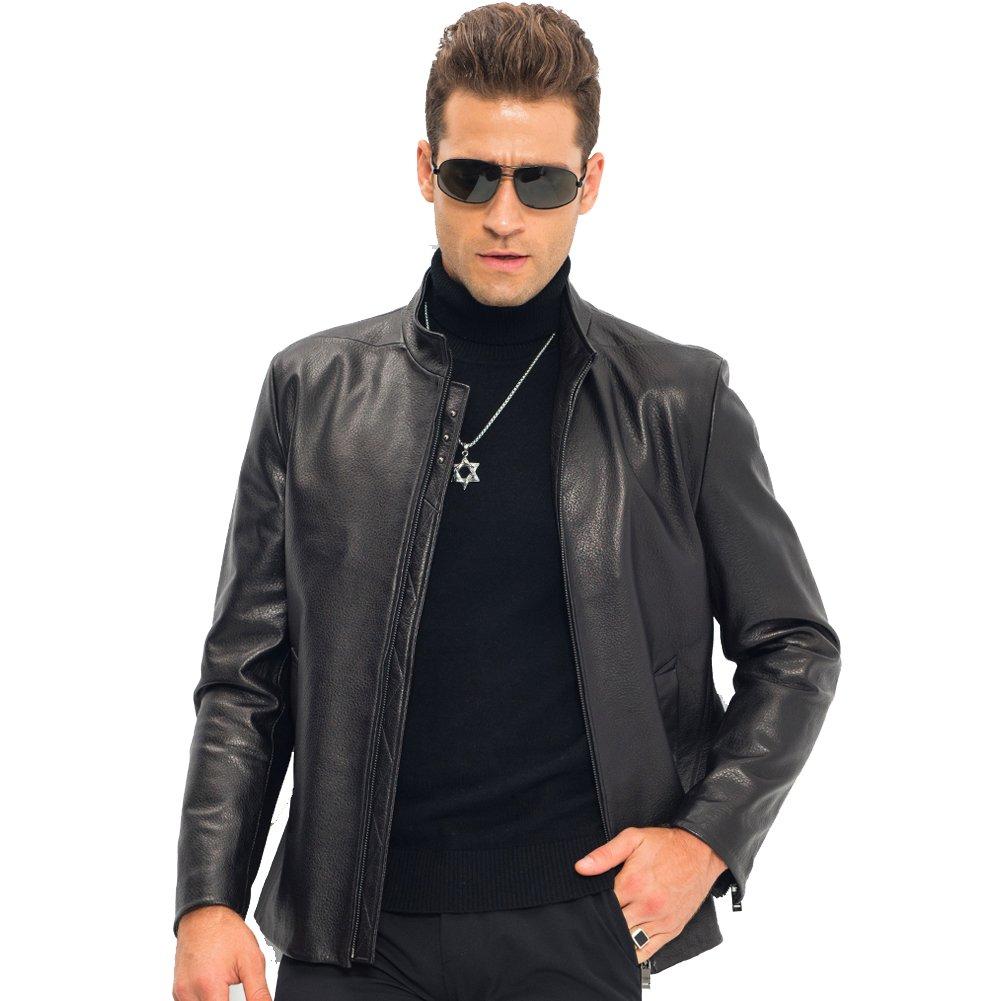 176d105ab230 LINAILIN Men s Casual Genuine Sheepskin Leather Coat Autumn Stand Collar Thin  Jacket - Black -  Amazon.co.uk  Clothing