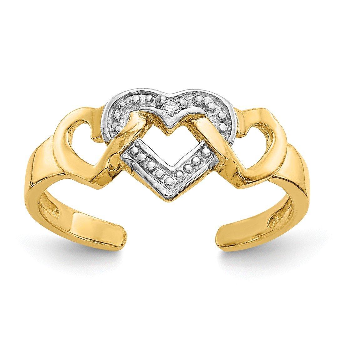 ICE CARATS 14k Yellow Gold Diamond Heart Adjustable Cute Toe Ring Set S/love Fine Jewelry Gift Set For Women Heart