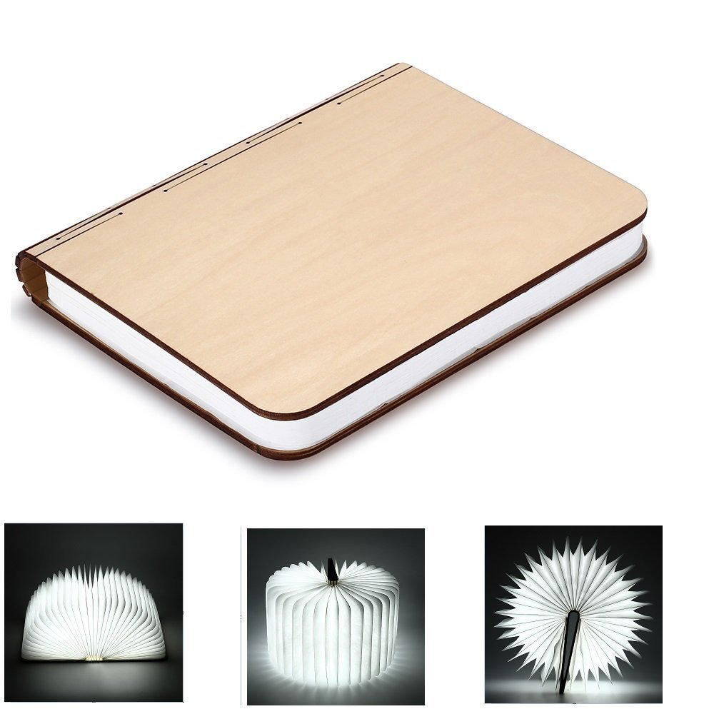 BestOpps Wooden Foldable LED Nightlight Book Style Rechargeable Folding Desk Lamp Table Lamp USB Book Lamp Decorative /Mood/Night Lights (White)