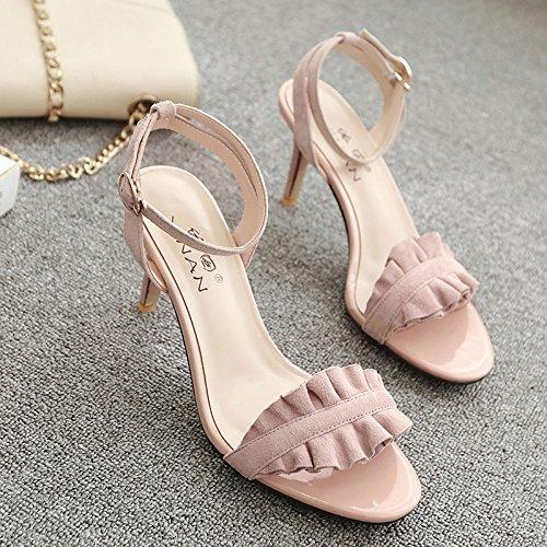 VIVIOO Sandalias De Mujer Sandalias De Tacón Alto Zapatos De Tacón Alto Sandalias Con Correa En La Hebilla De Botón De Un Solo Color Femenino Verano Rosa Tacones Altos Zapatos Salvajes Pink 5.5CM