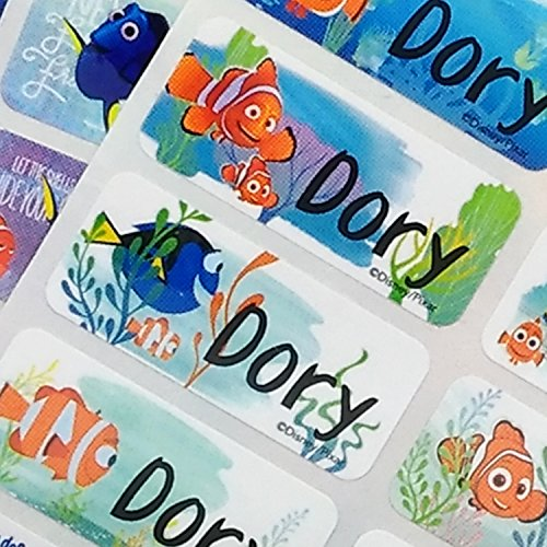 VivaLabels Character Name Stickers, Name Labels: Finding Dory- Nemo (120 pieces, Waterproof, Personalized Labels, Get 1 Storage Folder free) -