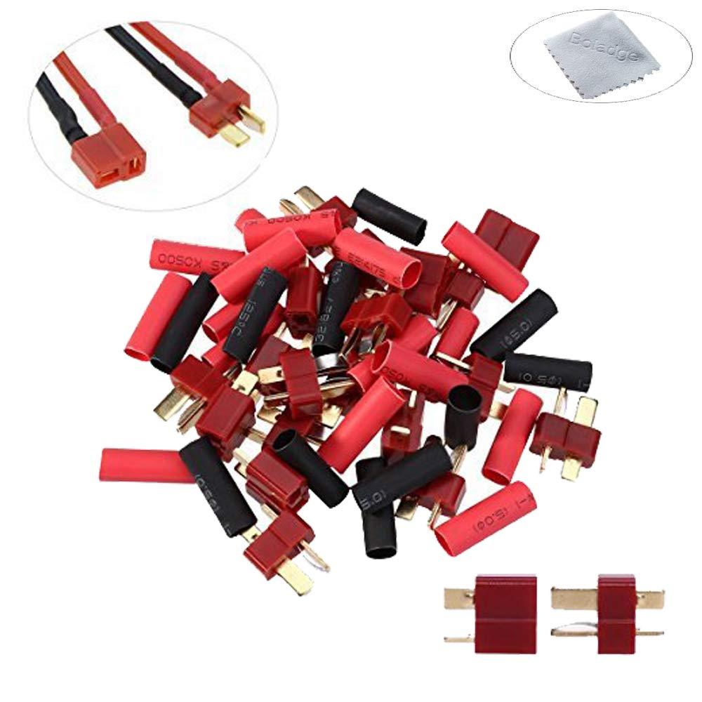 10pcs Conector Macho T-Plug + 10pcs Conector Hembra T-Plug Boladge 10 Pares de decanos Estilo Conector T-Plug con Tubos retr/áctiles