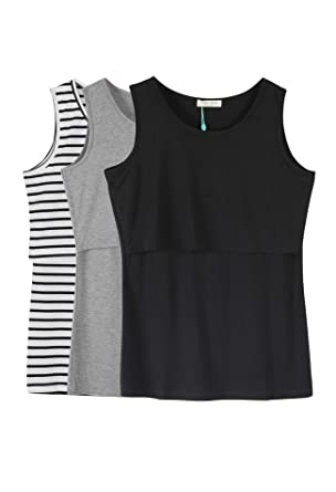 0bf019ae4ed Smallshow Women's 3 Pack Maternity Nursing Tank Tops Small Black  Stripe-Black-Grey