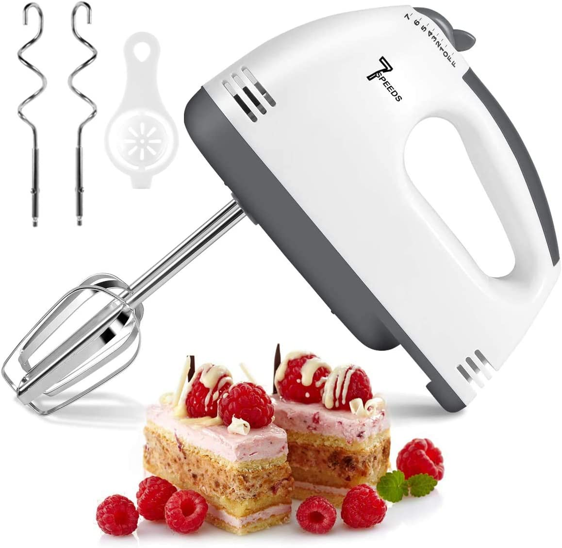 Hand Mixer Electric, 7-Speeds Lightweight Powerful Hand-Held Electric Mixer, Portable Kitchen Mixer Stainless Steel Egg Whisk with Egg White Separator, Dough Sticks and Egg Sticks for Baking, Cakes