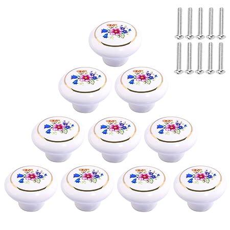 Pomelli in ceramica fiore, Teckpeak 10pz pomello in ceramica per  armadio/armadio/cucina/bagno/kid\' S Room Decor bianco, Ceramica, 1,  3.2×3.2×2.5cm
