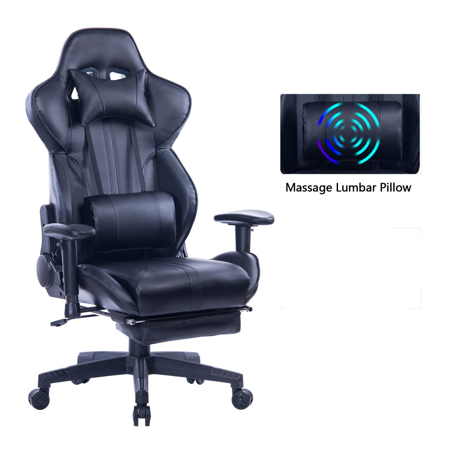 ZOPPO Gaming Chair with Adjustable Massage Lumbar Pillow,Retractable Footrest and Headrest -Racing Ergonomic High-Back PU Leather Office Computer Executive Desk Chair (Black) by ZOPPO