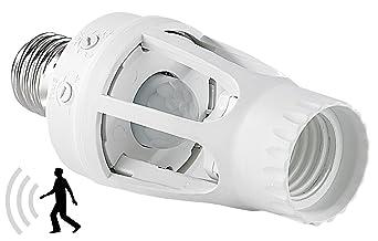 Lunartec Bewegungsmelder Fassung: Lampenfassung mit 360°-PIR-Bewegungssensor, E27 (E27 Fassung mit Bewegungsmelder)