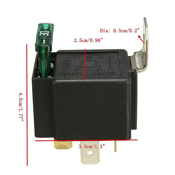 Etopars/™ 5 X 12V 30A Car Vehicle Motor Heavy Duty Relay Socket Plug 4Pin Fuse On//Off SPST Wire Metal