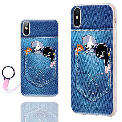 CHICHIC iPhone Xs Case Cute,iPhone X Case Cool,iPhone 10 Case, Ultra Thin Slim Flexible Soft TPU Clear Case Cover with Design for Apple iPhone Xs X 10, Funny Cartoon Animal Pet Cat in Jeans Pocket