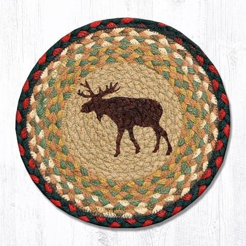 10''X10'' Burgundy/Mustard Moose Round Trivet