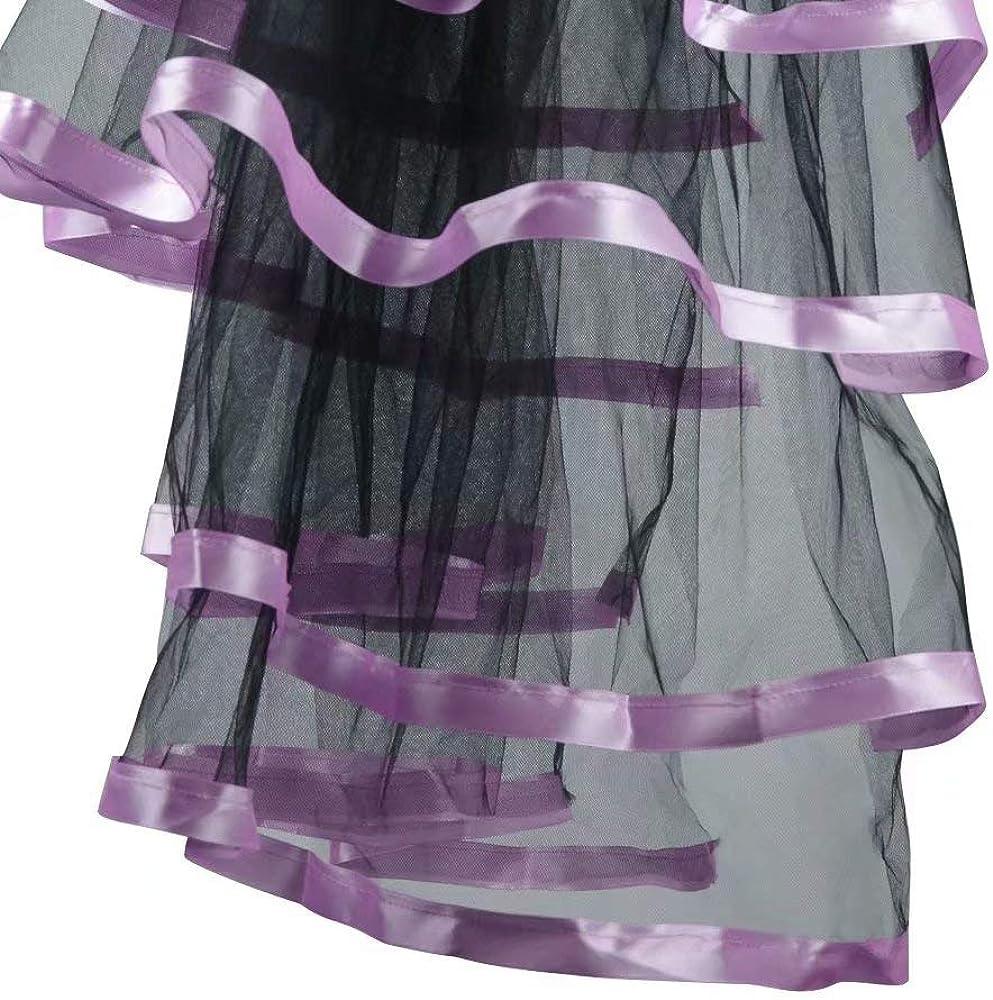 ABOURBAY Womens Victorian Steampunk Skirt Tulle Bustle Costume Ribbon Asymmetrical High Low Tutu Underskirt
