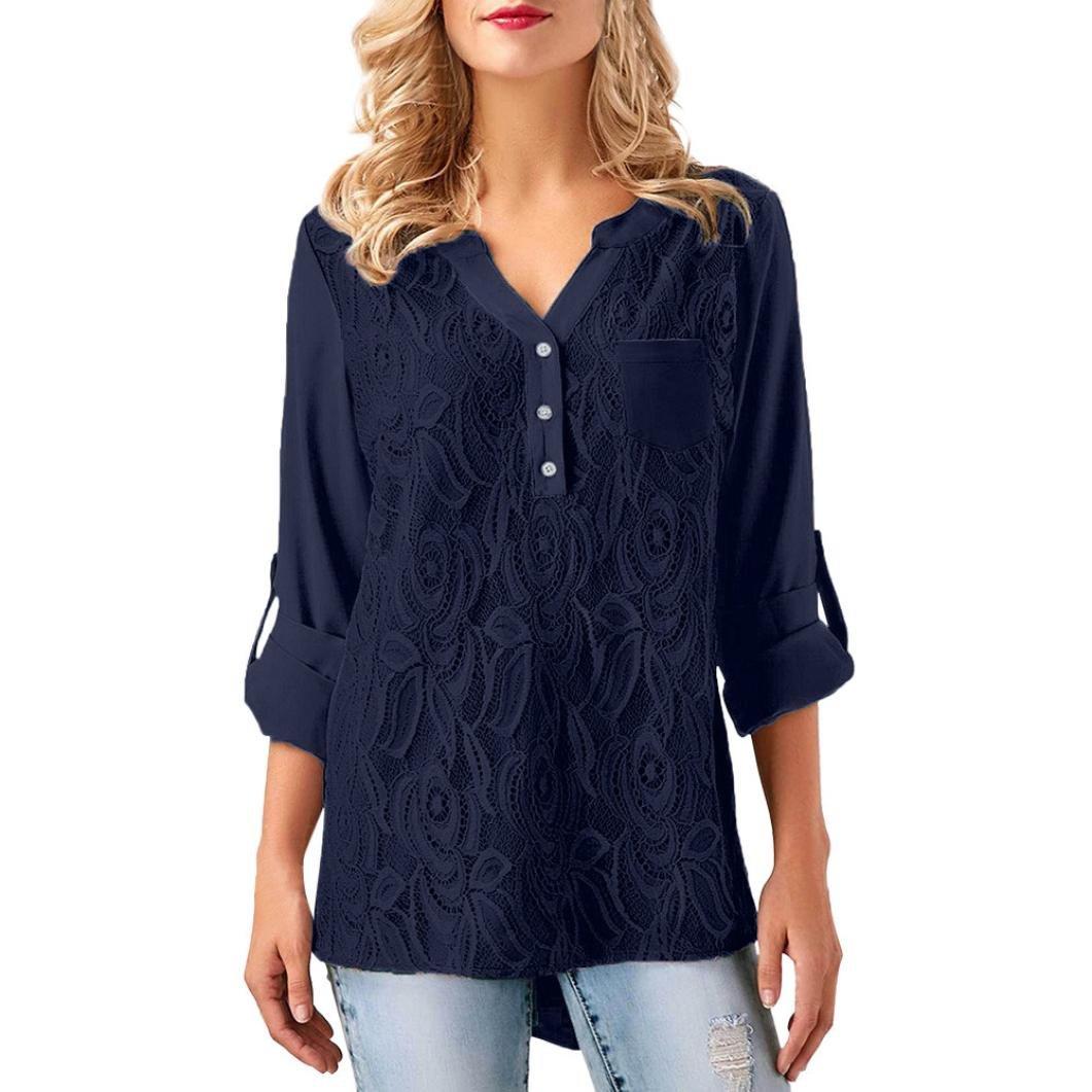 YANG-YI Hot, Womens Casual Blouse Ladies Lace Button T-Shirt Sleevel Tops