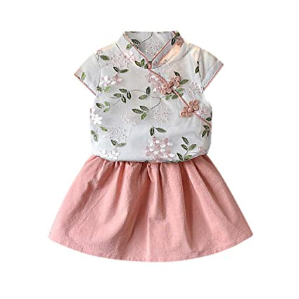 1Set Toddler Baby Girls Long Sleeve Bow T-Shirt Tops+Print Skirt Outfit Best