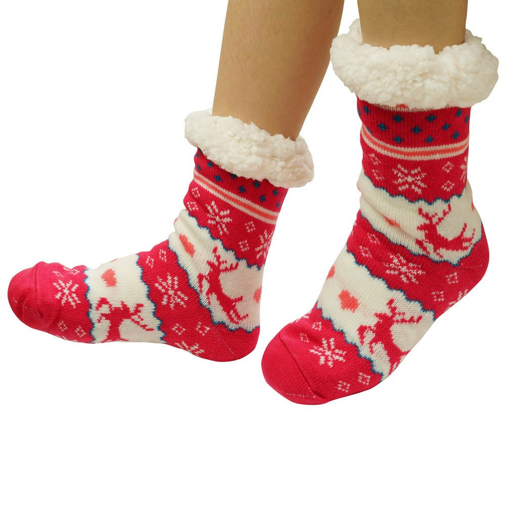 Women's Winter Warm Cozy Fuzzy Fleece Slipper Socks Christmas Gift WOMENSLIPPERSC002