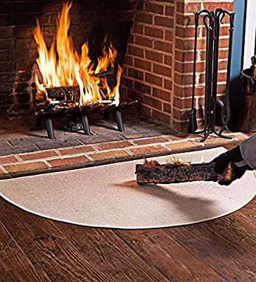 Fire Retardant Fiberglass Half Round Hearth Fireplace Area Rug Polyester Trim Non Slip Mat Low Profile Protects Floors from Sparks Embers Logs