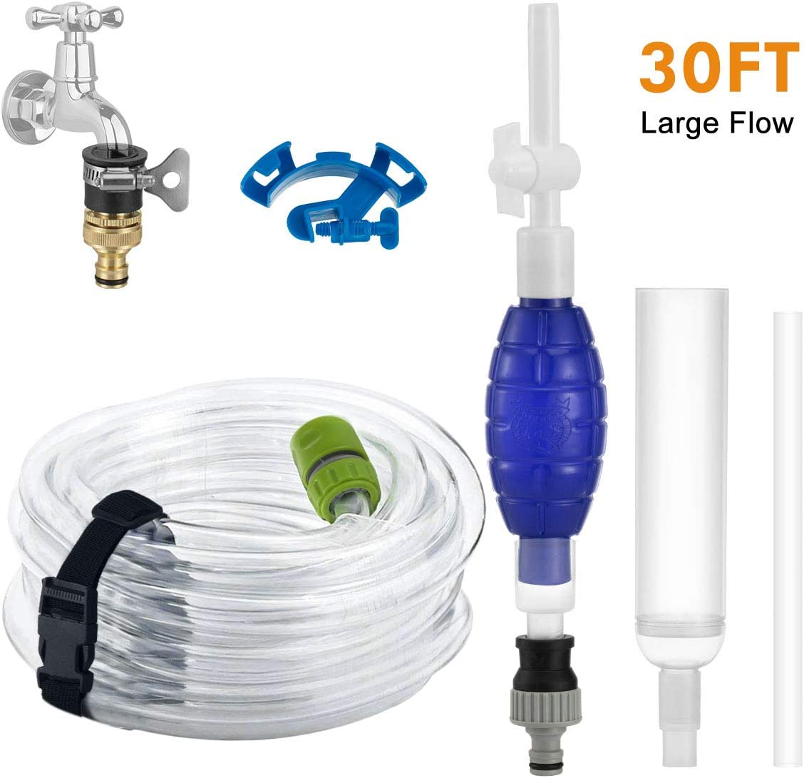 Flow.month Fish Tank Gravel Cleaner-30ft Long Hose Aquarium Vacuum Syphon Water Changing Pump Kit&Sand Cleaning Washer Tools