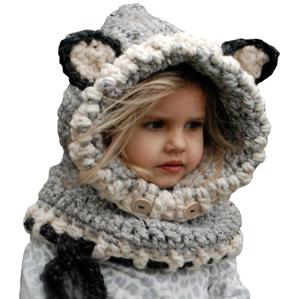 46c5695d1e0f Enfants Chapeau Hiver Bonnet Écharpe Automne Tricot Chapeau Chaud bébé  Garçons Filles (Gris 1)  Amazon.fr  Sports et Loisirs
