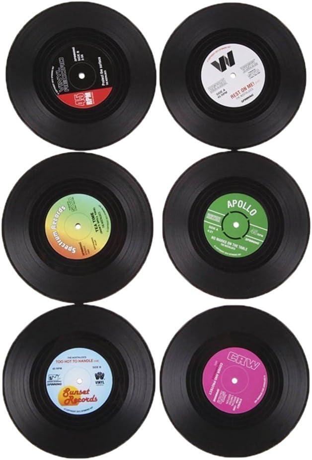 6x Coaster Copa Sostenedor de Bebida Mat Tabla Mantel Forma de CD Vinyl Record Redonda Vendimia: Amazon.es: Bricolaje y herramientas