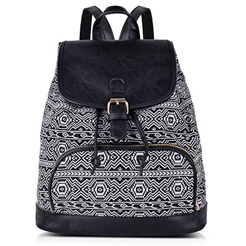Vibiger Stylish Canvas Backpack Casual Bag Drawstring Backpacks School Bag Daypack with Delicate Printing for Women (B-Black) by VBIGER (Image #1)