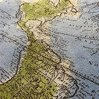 1 metro tela estampada lona loneta algodón 100 x 158 cm mapa mundo ...