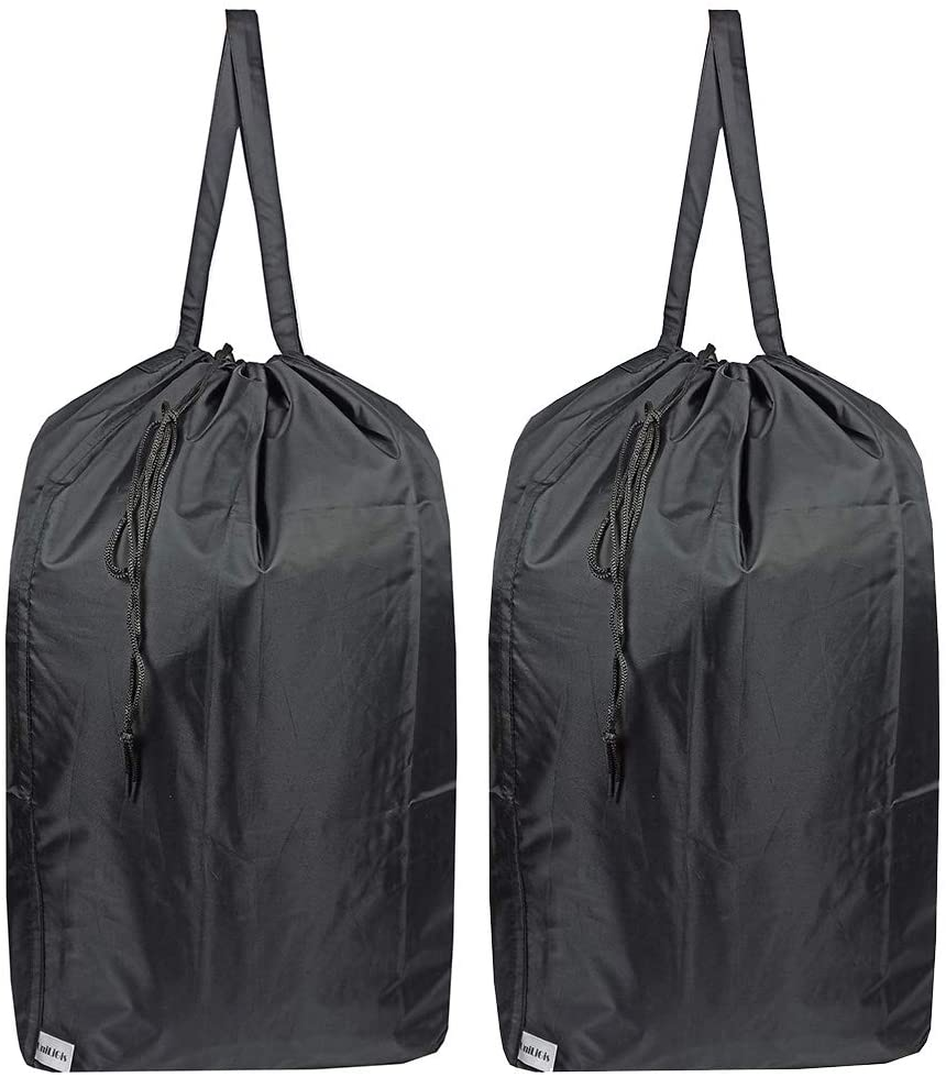 UniLiGis Washable Travel Laundry Bag with Handles and Drawstring (2 Pack), Heavy Duty Large Enough to Hold 3 Loads of Laundry, Fit a Laundry Basket or Clothes Hamper, 27.5x34.5 in,Black