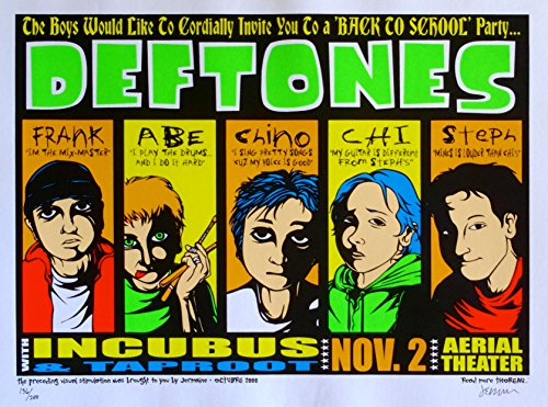 Deftones Poster w/ Incubus & Taproot 2000 Concert Rare S/N by Jermaine