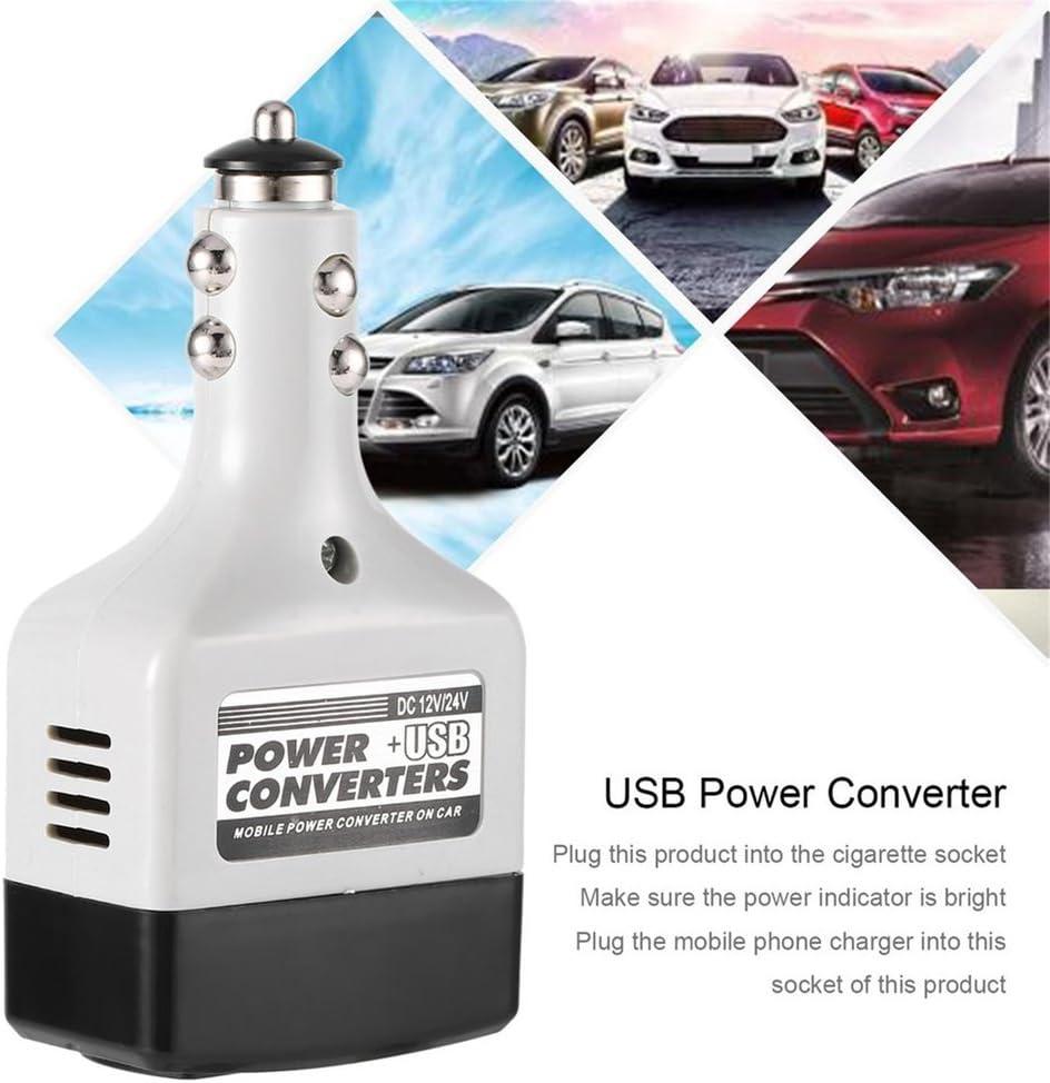 Adaptador inversor convertidor móvil para automóvil DC 12V / 24V a CA 220V Cargador Power + USB (Color: blanco y negro)