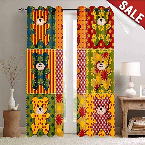 Hengshu Window Curtain Fabric Colorful Kids Room Pattern with Patchwork Style Teddy Bears Cute Funny Childish Drapes for Living Room W72 x L108 Inch Multicolor