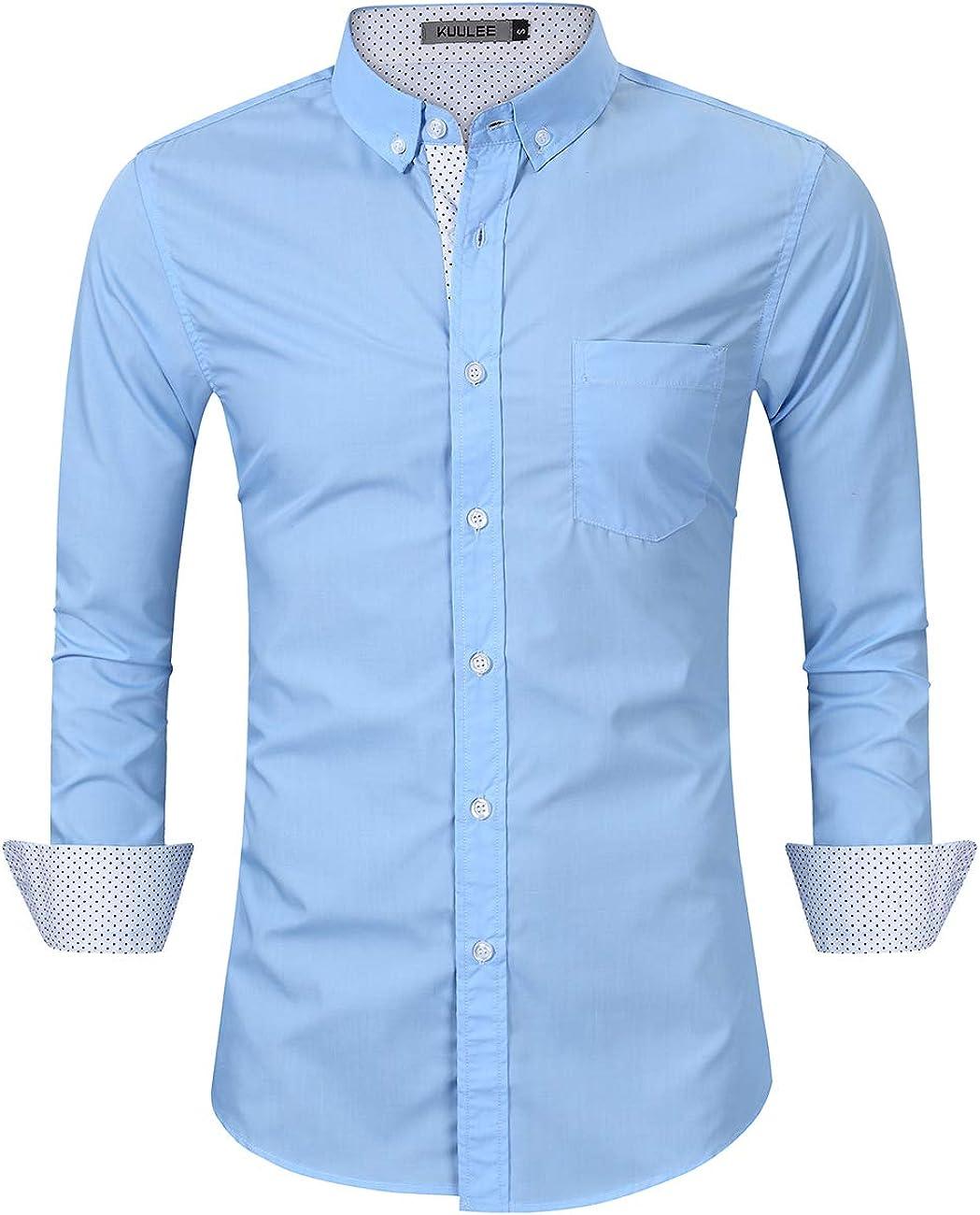 KUULEE Camicia Uomo Slim Fit Elegante Manica Lunga Casual Formale