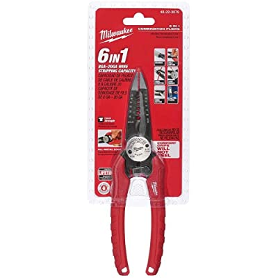 Milwaukee 48-22-3079 6-In-One Combination Wire Stripping and Reaming Pliers for Electricians - Needle Nose Pliers - .com
