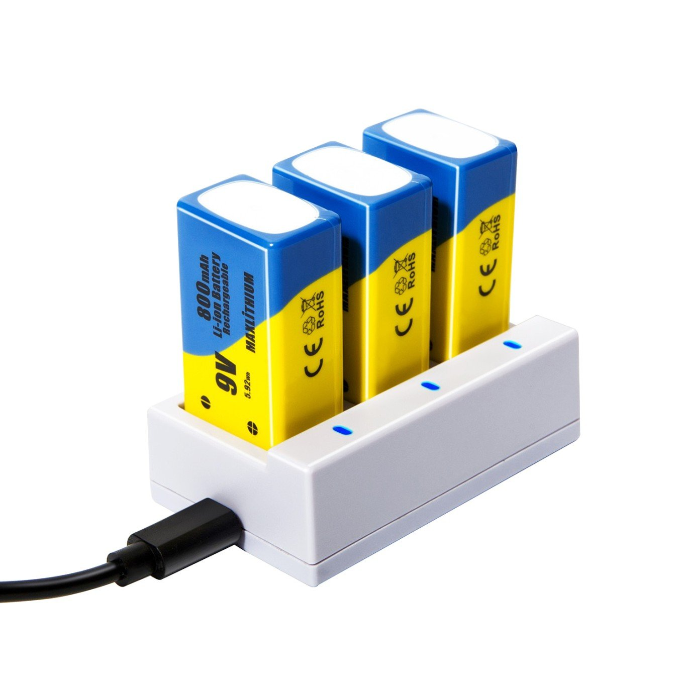 9v Batteries Rechargeable Li-ion 800mAh 3 Packs with Quick Charger