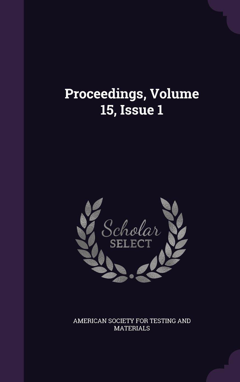 Proceedings, Volume 15, Issue 1 pdf epub