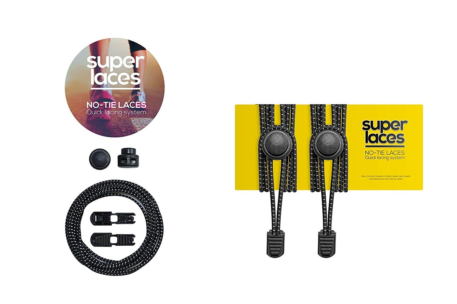 No Tie Shoe laces for Kids and Adults by Superlaces - with Lock system - Elastic Tieless Stretchy shoe laces - for Running Tennis Triathlon