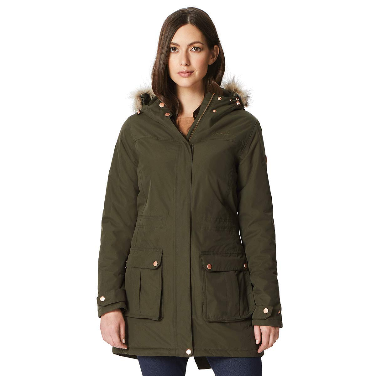 Dark Khaki Regatta Womens Ladies Sherlyn Full Length Hooded Jacket