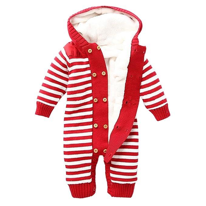 MNBS Invierno peleles bebe raya encapuchado suéter sweater abrigos bebe niño ninas sudaderas suéter ropa-Rojo-2A: Amazon.es: Ropa y accesorios