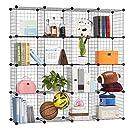LANGRIA Metal Wire Storage Cubes, Modular Shelving Grids, DIY Closet Organization System, Bookcase, Cabinet, (16 - Regular Cube)