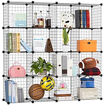 LANGRIA Metal Wire Storage Cubes, Modular Shelving Grids, DIY Closet Organization System, Bookcase, Cabinet, (16 - Regular Cube)