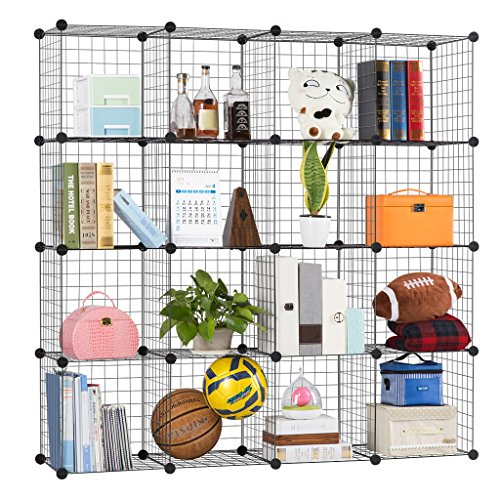 LANGRIA Metal Wire Storage Cubes, Modular Shelving Grids, DIY Closet Organization System, Bookcase, Cabinet, (16 – Regular Cube)