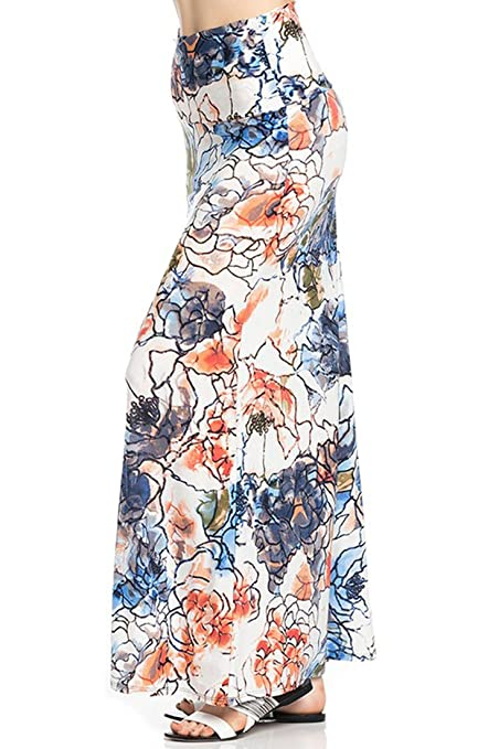 a840873e6 Niobe Various Printed Full Length Banded Waist Foldover Maxi Skirt at  Amazon Women's Clothing store:
