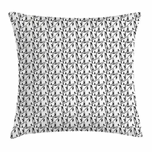 FunnyLife Sketch Throw Pillow Cushion Cover, Jumping Running Cartoon Mascot Character Climbing the Hanging Rope Ladder Stairway, Decorative Square Accent Pillow Case Black White