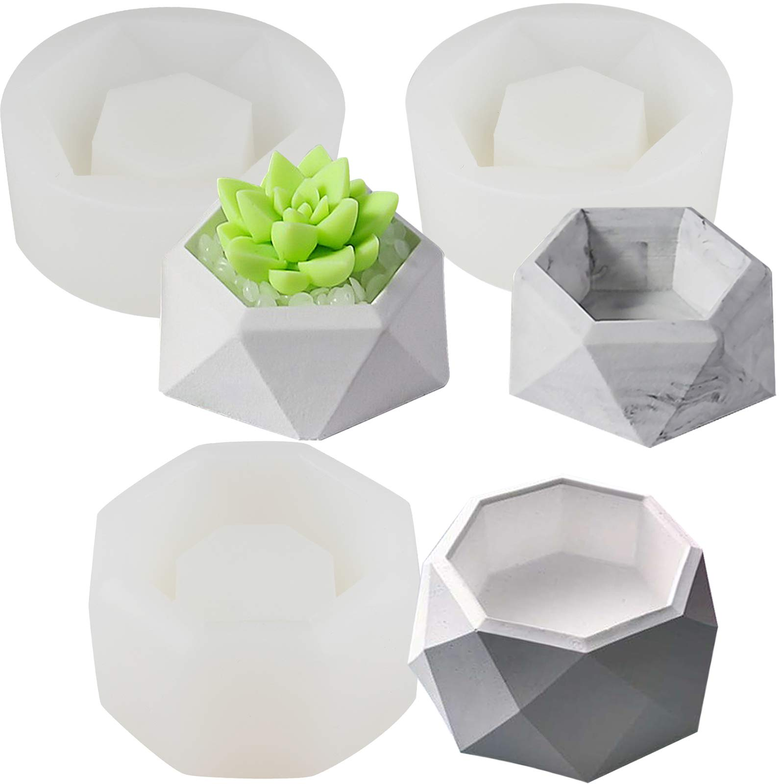 Funshowcase Faceted Geometry Flower Pot Silicone