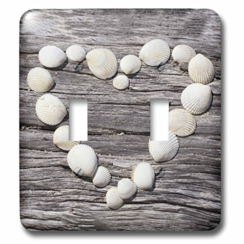 3dRose Andrea Haase Still Life Photography - Heart created with shells on driftwood - Light Switch Covers - double toggle switch (lsp_266523_2)